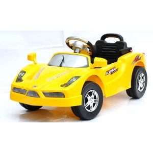 yellow kids ride car